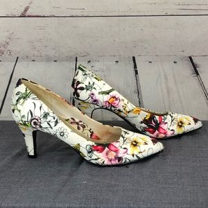 Hush Puppies Soft Style Floral on White High Heels